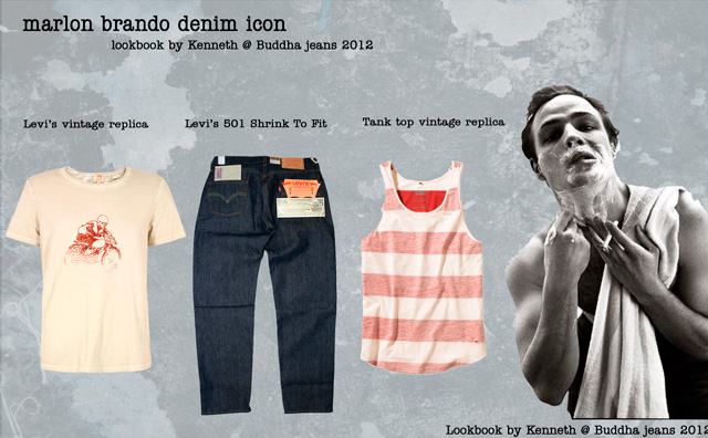 arlon Brando denim jeans look book, the 50's