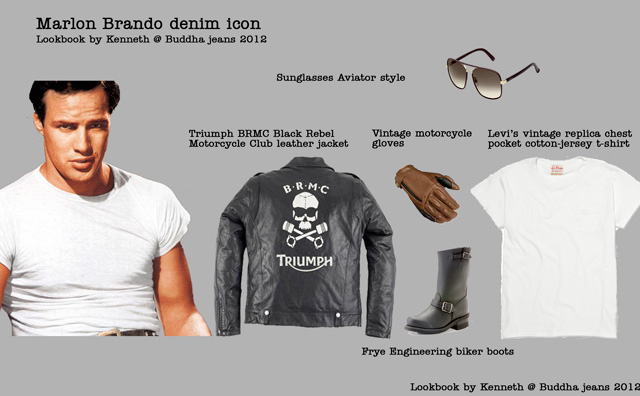 Marlon Brando look book. Denim, tees and leather biker jackets