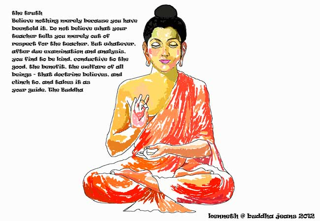 image of a painted Buddha and a quote